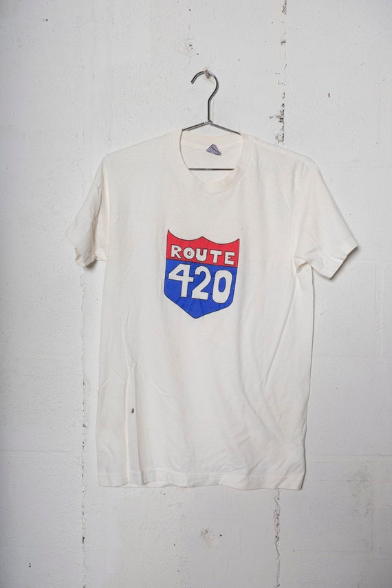 Vintage 90's Route 420 Hand Painted Stoner T Shirt Soft! Thin! M