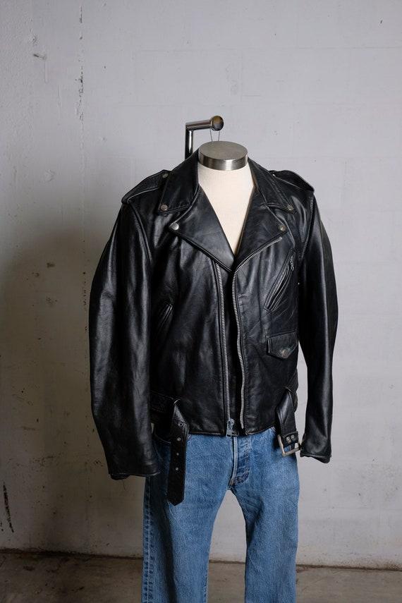 Vintage 80's Harlin USA Black Leather Biker Moto Jacket Sz 42