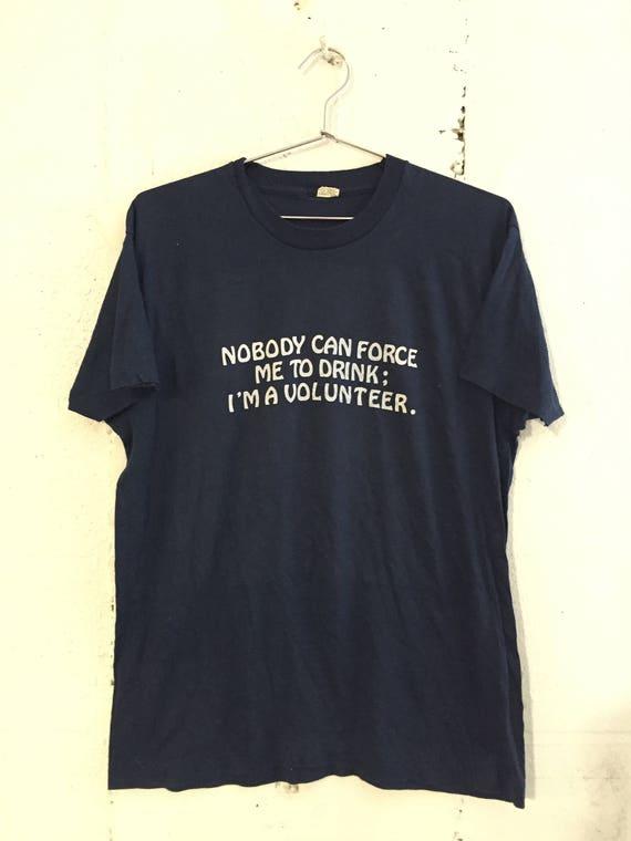Vintage Drinking Volunteer Funny Thin Soft T Shirt Navy Blue XL