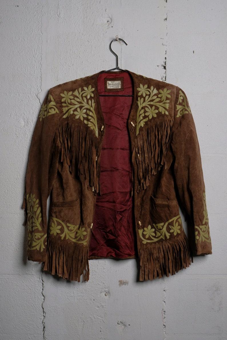 5beb9d411 Vintage 1970's Women's Suede Tooled Leather Fringe BoHo Hippie Western  Jacket Rare! S