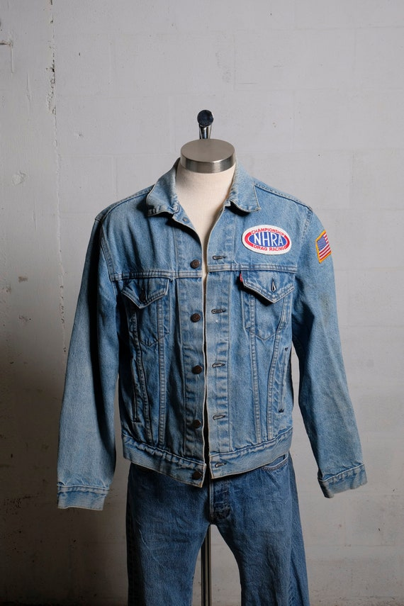 Vintage 80's Levi's Denim Trucker Jacket NHRA Flag Patches 44R