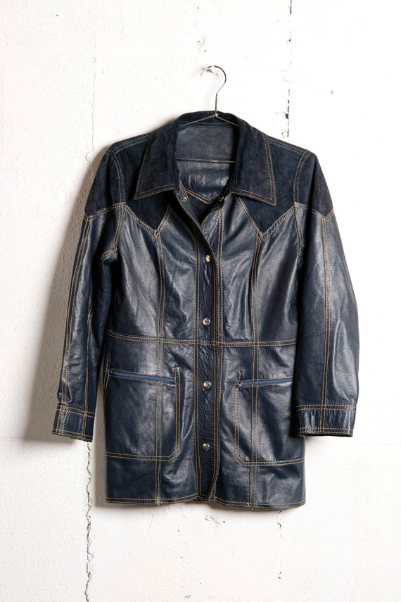 Vintage 70's Blue Indigo Leather Suede Jacket Coat Slim Fit