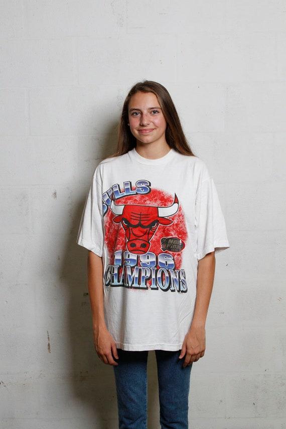 Vintage 1996 Chicago Bulls National Champions T Shirt Soft! L