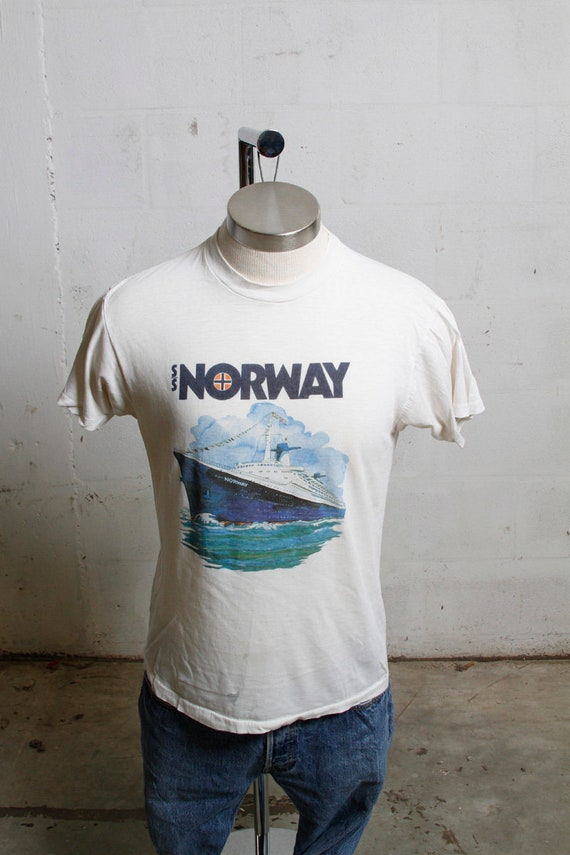 Vintage 80's S.S. Norway Cruise Ship T Shirt Soft! Thin! Thrashed! L