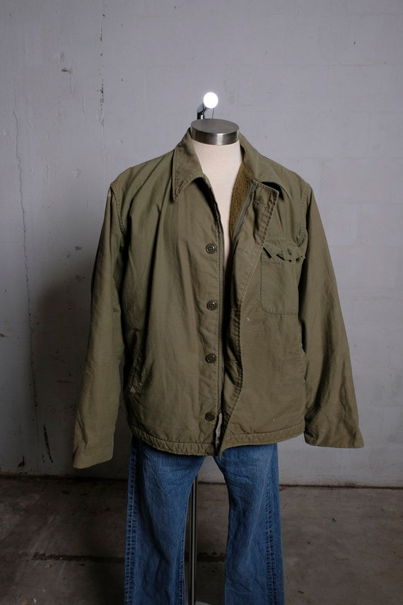 Vintage US Army Type I Cold Weather Jacket Stenciled Thrashed! XL