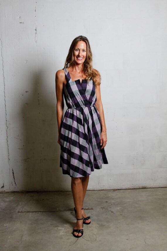 Vintage 80's Cotton Purple V Neck Gingham Checkered Sun Dress w/Pockets