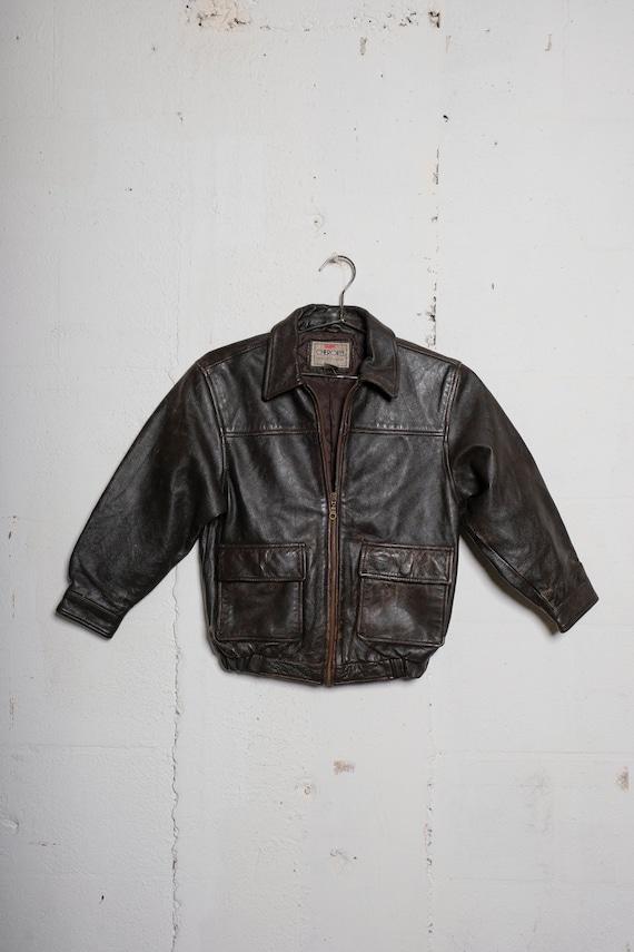 Vintage 80's Cherokee Kids Leather Bomber Jacket Patina! M