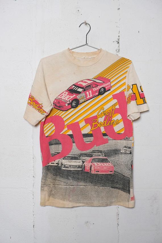 Vintage 90's Geoff Bodine Budweiser Nascar ALL OVER Print T Shirt Thrashed! Soft! M