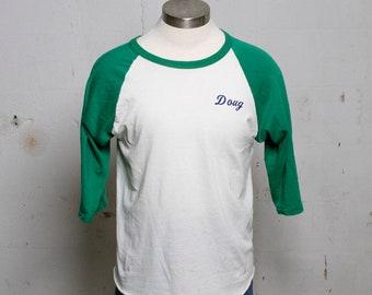 Vintage 70's 3/4 Sleeve Doug Name Sports T Shirt Super soft! L