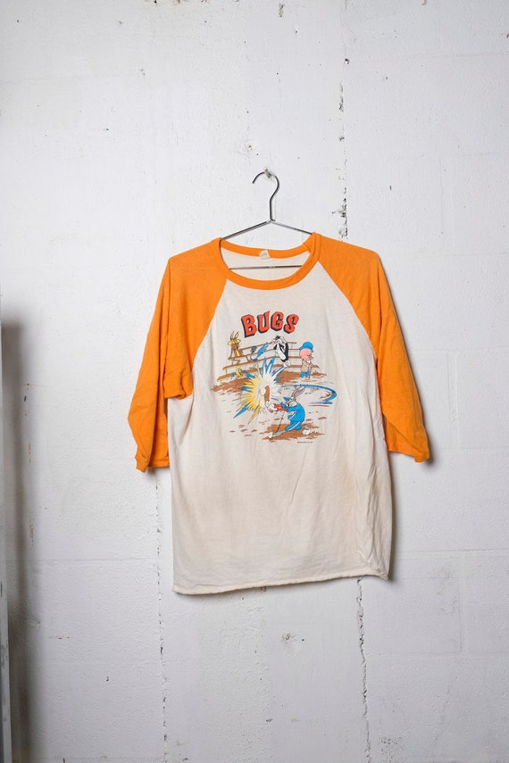 Vintage Rare Original 1975 Bugs Bunny Baseball 3/4 Sleeve T Shirt Soft! Made In USA XL