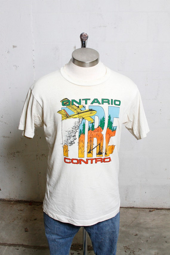 Vintage 90's Ontario Fire Control T Shirt Thrashed! Soft! L