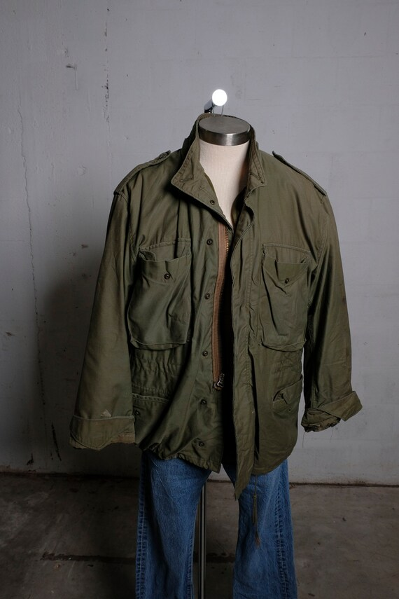 Vintage US Army OG-107 Cold Weather Lined Field Jacket Olive Green Large Short