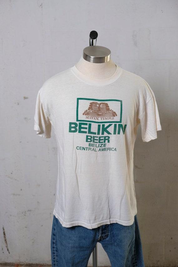 Vintage 80's Belikin Mayan Temple Beer Belize T Shirt Soft! Thin! M