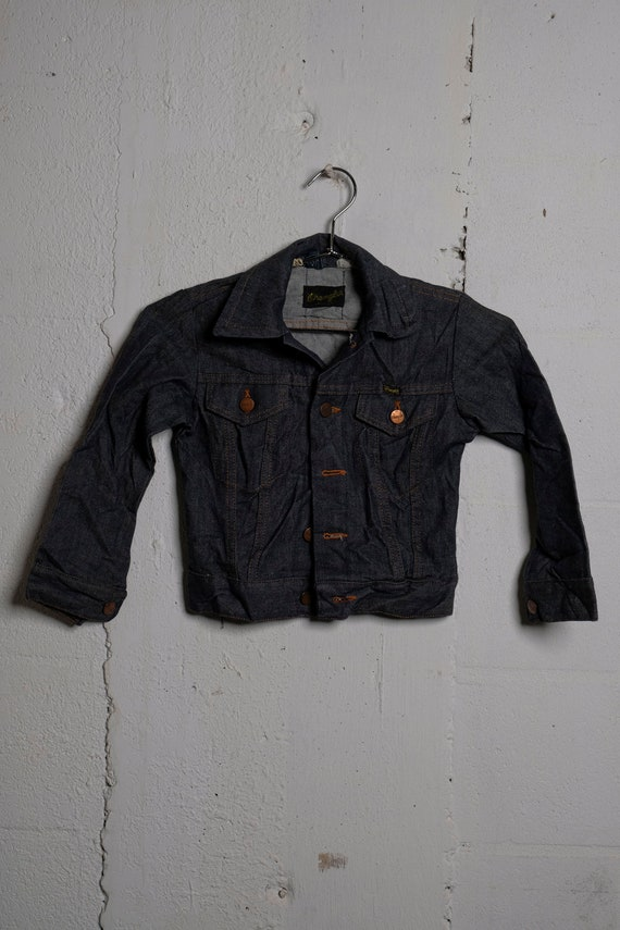 Vintage Wrangler Black Label Kids Denim Trucker Jacket Made in USA Rare