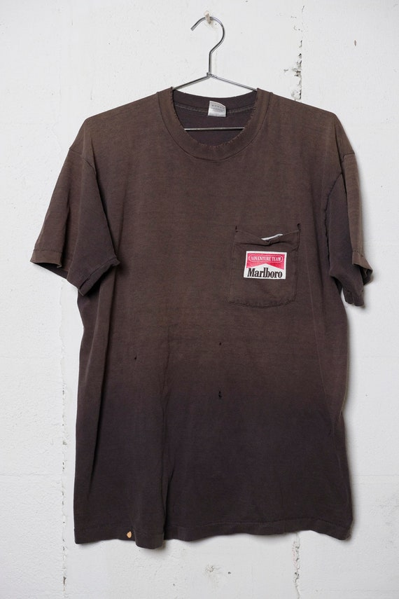 Vintage 90's Marlboro Cigarettes Adventure Team Snake Pass Pocket T Sun Faded! Thrashed!  XL