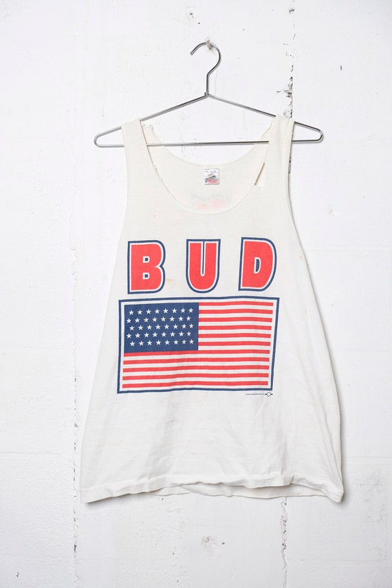 Vintage 90's Budweiser Beer America Tank Top Party! USA! L