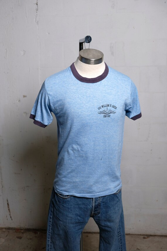 Vintage 80's USS William H Bates Ringer T Shirt Soft! Thin! XL