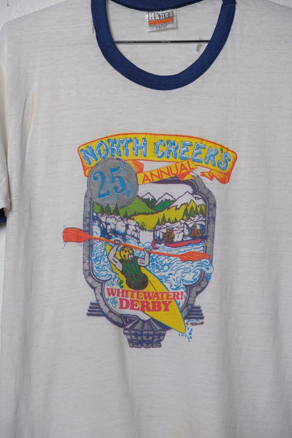 Vintage 80's North Creek's 25th Annual Whitewater Derby Ringer T Shirt Thrashed! Paper Thin! L