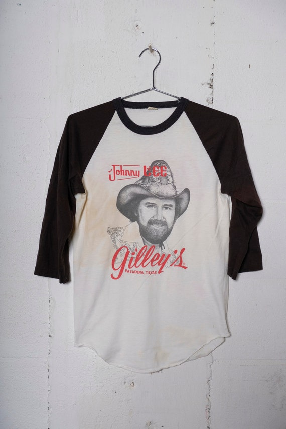 Vintage 80's Johnny Lee Live At Gilley's Pasadena TX 3/4 Sleeve T Shirt Rare! Thrashed! M