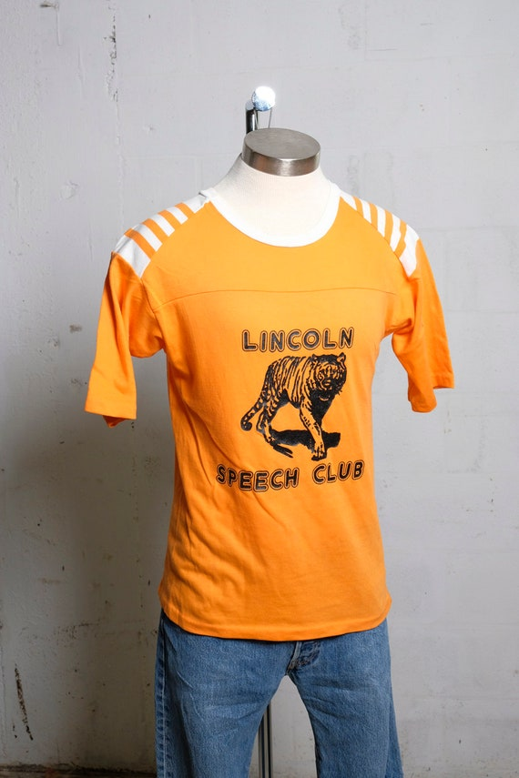 Vintage 80's Lincoln Speech Club Jersey Shirt Tiger! Artex M