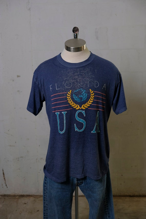 Vintage 90's Florida USA Tourist T Shirt Thrashed! Paper Thin! Soft! L
