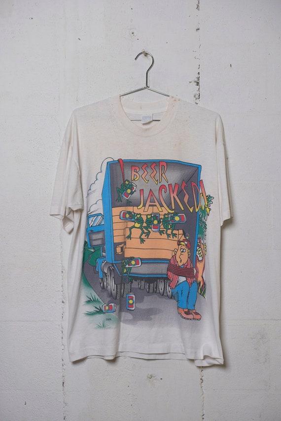 Vintage 90's Beer Jacked T Shirt Freeze NYC Drape Boxy Rare! Soft! XL