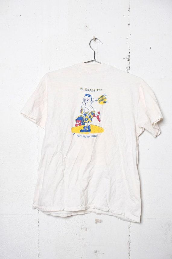 Vintage 1986 Pi Kappa Phi Summer Spring Break Pocket T Shirt Ft. Walton Beach L