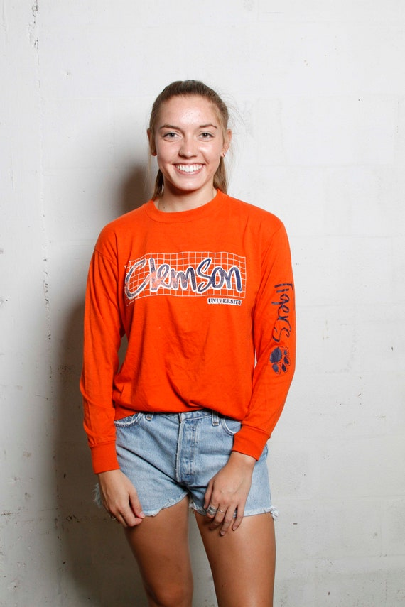 Vintage 80's Clemson University LS T shirt Soft! Game Day! M