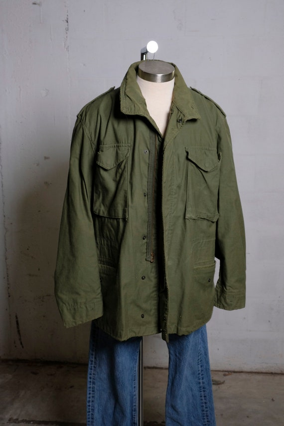 Vintage US Army Cold Weather Field Coat Olive Green Winnfield L