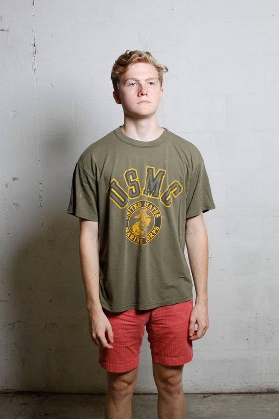 Vintage 80's USMC Marine Corps T Shirt Thrashed! Burnout! Soft! Thin! L