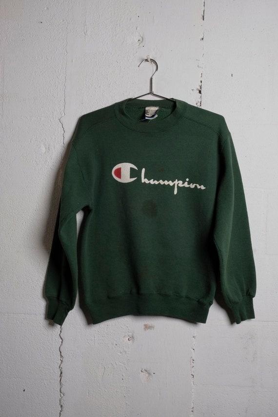 Vintage 90's Champion Logo Sweatshirt Green Thrashed! Soft! S