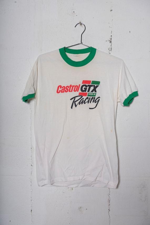 Vintage 80's Castrol GTX Motor Oil Racing Ringer T Shirt Thrashed! Soft! Thin! M