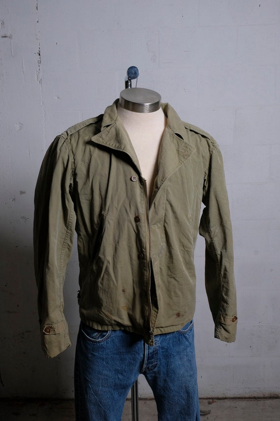Vintage 60's Early Vietnam Era US Army Field Jacket Olive Green Rare Buttons S