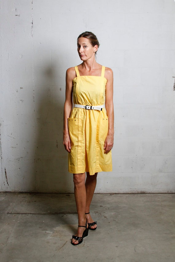 Vintage 80's J. Ellis Cotton Poly Belted Banana Yellow Pocketed Day Dress Sz 10