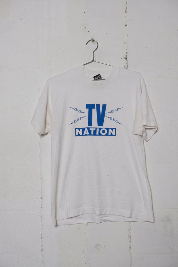 Vintage 90's TV Nation T Shirt Rare! Soft! L