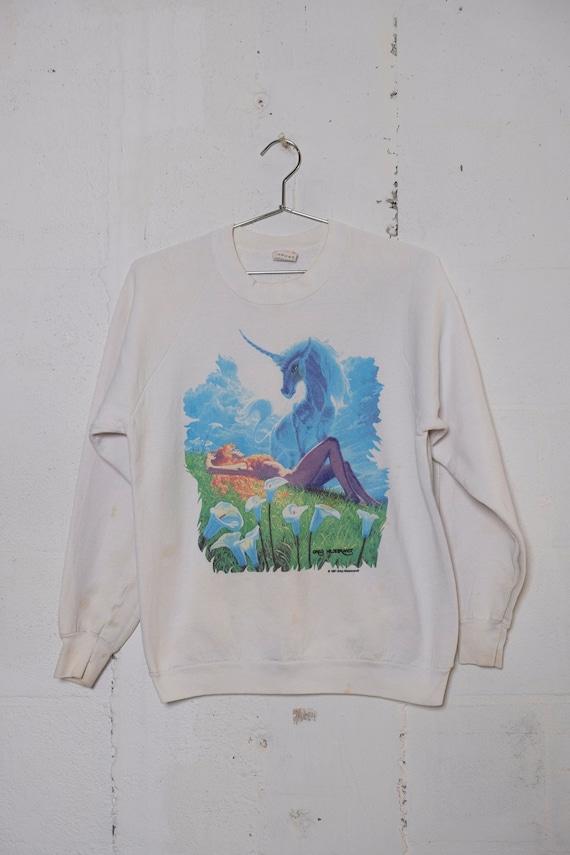 Vintage 1981 Greg Hildebrandt Fantasy Sci-Fi Unicorn Babe Sweatshirt Rare! Thrashed! L