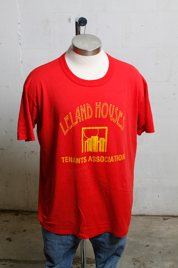 Vintage 90's Leland Houses Tenants Association T Shirt Thrashed! Soft! XL