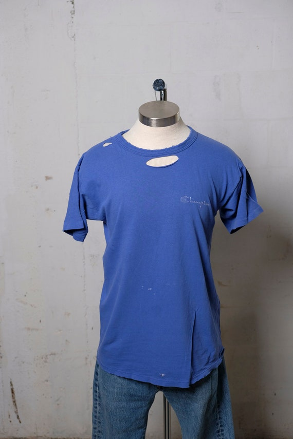 Vintage 90's Champion Heavy Weight Blue T Shirt Thrashed! Beat! L