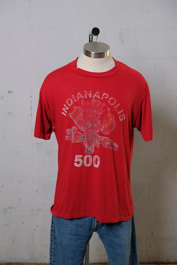 Vintage 80's Indianapolis 500 Raceway T Shirt Thrashed! Beat! Paper Thin! XL