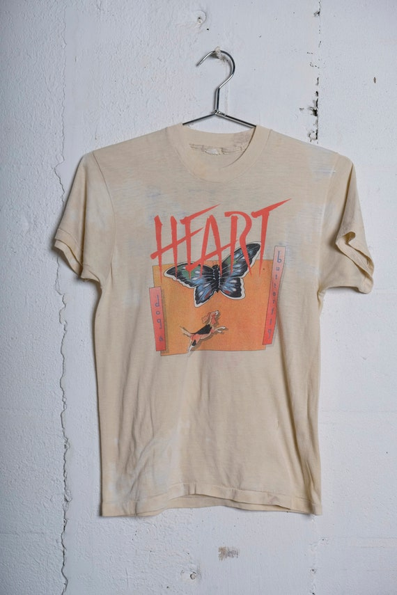 Vintage 1978 Heart Dog & Butterfly Seattle Colosseum Concert December 29, 30, 31 Sold Out Tour Rock Band T Shirt Rare! Thrashed! S