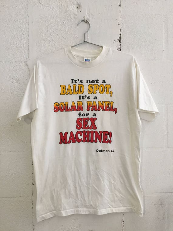 Vintage Solar Bald Spot Sex Machine Funny Humorous Perv 70's T Shirt Oatman AZ L