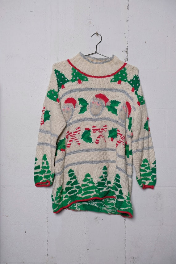 Vintage 90's Ugly Christmas Santa Sweater Hand Knit L