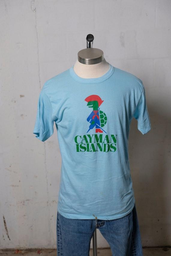 Vintage 80's Cayman Islands Turtle Pirate Destination T Shirt Soft! Thin! XL