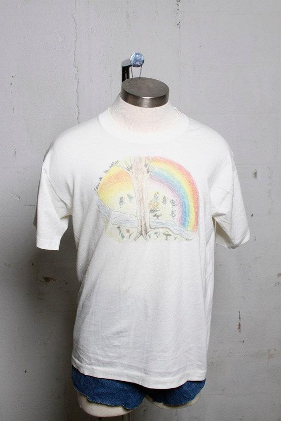 Vintage 90's Crazy About Nature French T Shirt Gnomes! Elves! Hippies! Rainbows!  L
