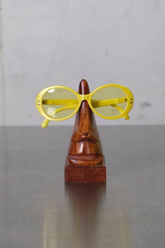 Vintage 70's Women's Plastic Mid-Century Mod Yellow Tint Sunglasses Deadstock