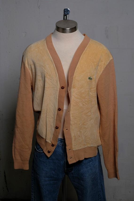 Vintage 1960's Mens IZOD Lacoste Velour Button Cardigan Sweater