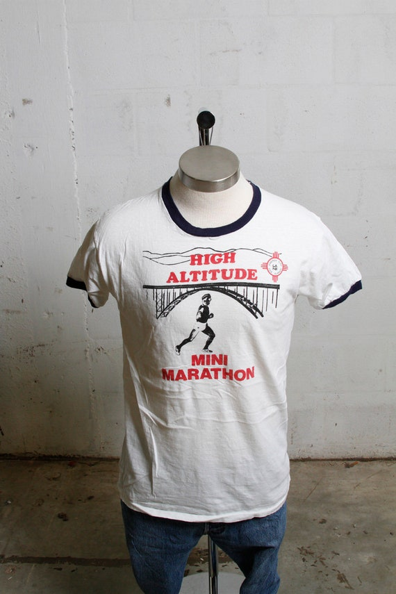 Vintage 80's High Altitude Mini Marathon Ringer T Shirt Energy City Los Alamos Soft! M