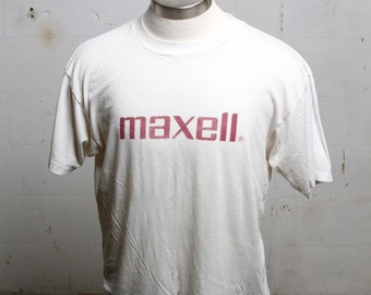 Vintage 80's Maxell Tapes Music Burnout T Shirt Thin! Soft! XL