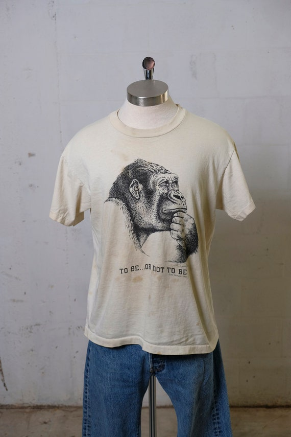 Vintage 1990 To Be Or Not To Be Gorilla T Shirt Thrashed! Soft! L