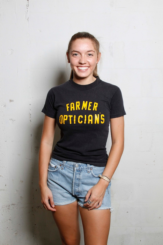 Vintage 80's Farmers Opticians Sports T Shirt Soft! Rural! S